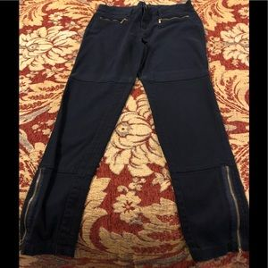 Michael Kors Navy Zipper Ankle Skinny Pants -8